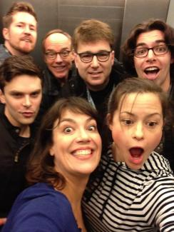 Image of Next to Normal Cast in elevator